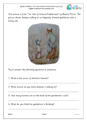Preview of worksheet Jemima Puddle-duck (1)