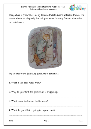 Preview of worksheet Jemima Puddle-duck (2)