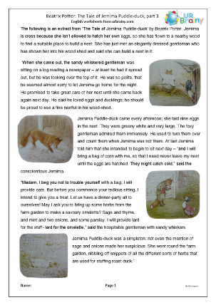 Preview of worksheet Jemima Puddle-duck: hard part 3