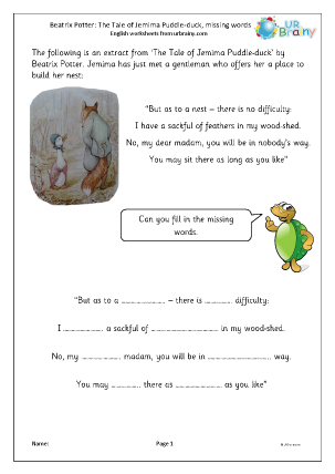 Preview of worksheet Jemima Puddle-duck: missing words (easy)