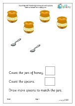Count and match: honey jars and spoons