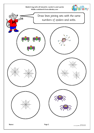 Preview of worksheet Matching objects: spiders and webs