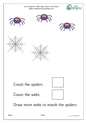 Preview of worksheet Count and match: spiders and webs