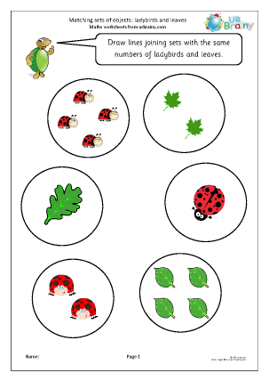 Preview of worksheet Matching objects: ladybirds and leaves