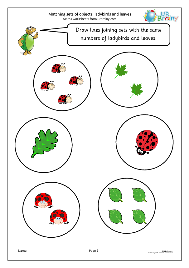 Preview of 'Matching objects: ladybirds and leaves'