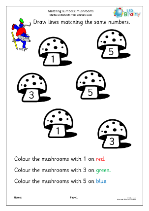 Preview of worksheet Recognising numbers: mushrooms