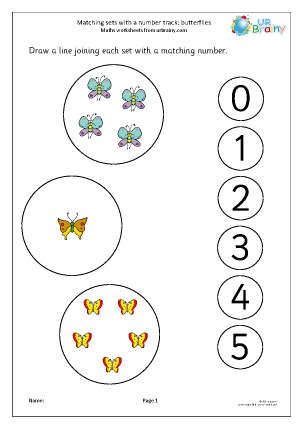 Preview of worksheet Matching sets to a number track: butterflies