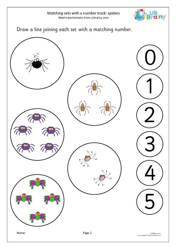 Preview of 'Matching sets to a number track: spiders'