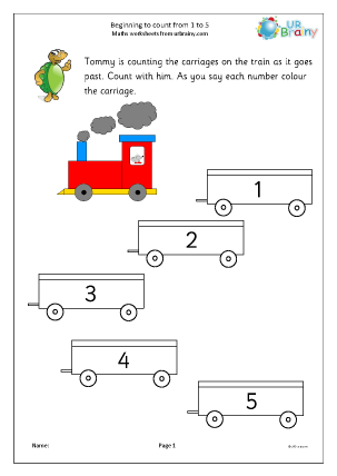 Preview of worksheet Counting trucks: 1 to 5