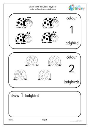 Preview of worksheet Count up to 3: ladybirds
