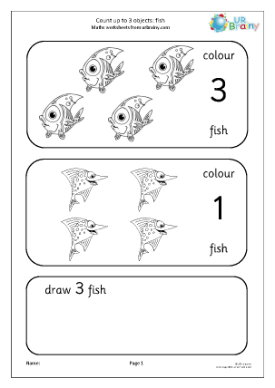Preview of worksheet Count up to 3: fish