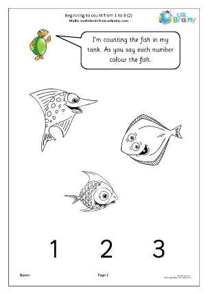 Preview of worksheet Beginning to count from 1 to 3 (2)