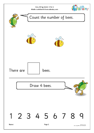 Preview of worksheet Counting bees: 1 to 5