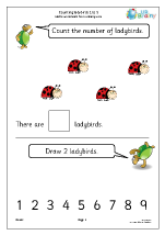 Counting ladybirds: 1 to 5