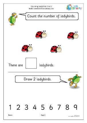 Preview of worksheet Counting ladybirds: 1 to 5