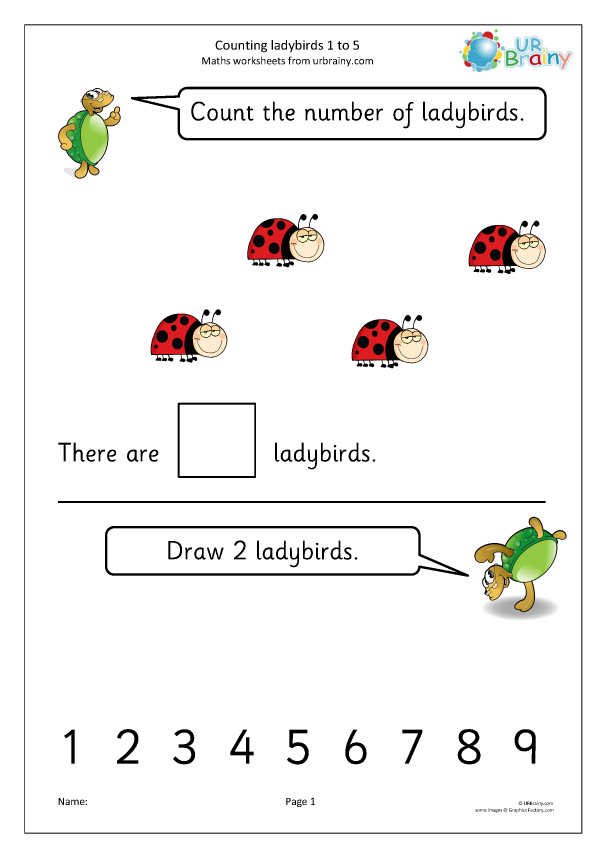 Preview of 'Counting ladybirds: 1 to 5'