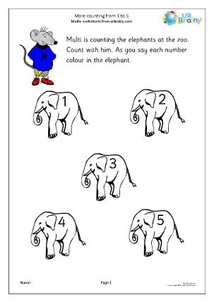 Preview of worksheet More counting from 1 to 5