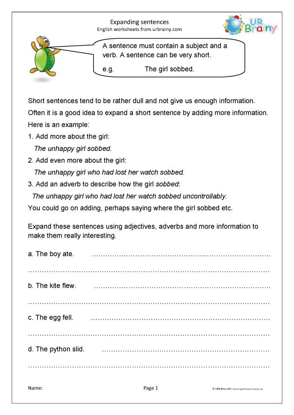 Preview of 'Expanding sentences (KS2)'