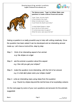 Preview of worksheet Developing writing: wonder questions (KS2)