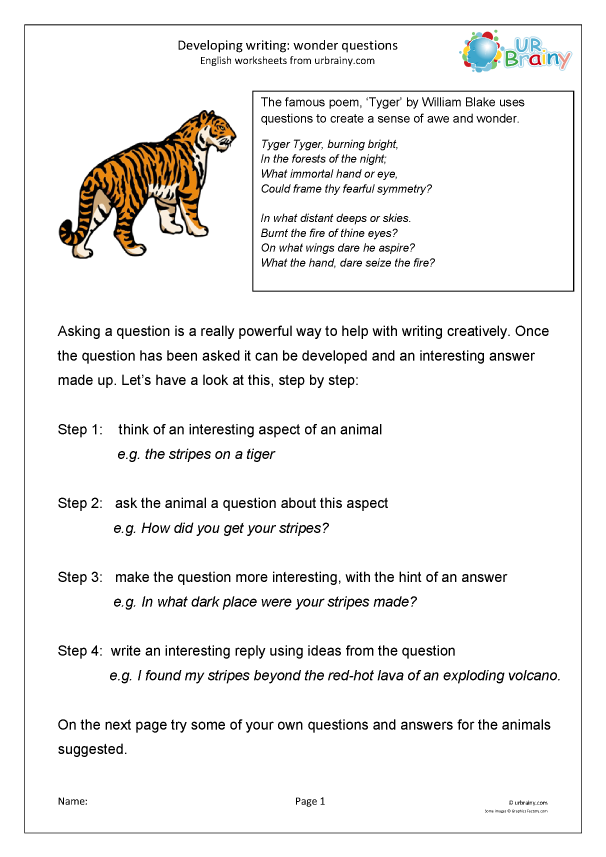 Preview of 'Developing writing: wonder questions (KS2)'