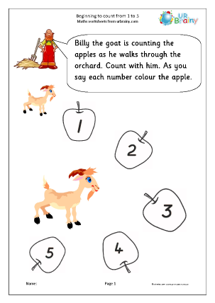 Preview of worksheet Beginning to count 1 to 5
