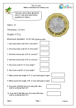 One pound coin measurements