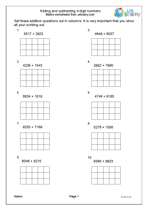 Preview of worksheet Add and subtract 4-digit numbers