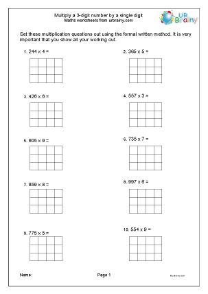 Preview of worksheet Multiply 3-digit numbers by 1-digit
