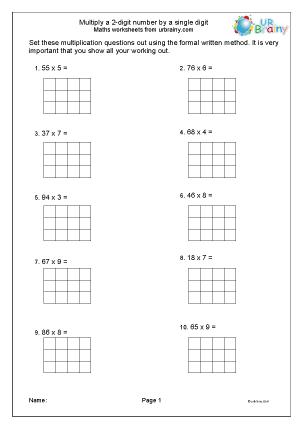 Preview of worksheet Multiply 2-digit numbers by 1-digit