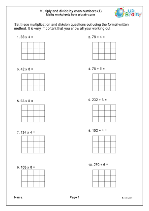 Preview of worksheet Multiply and divide by even numbers