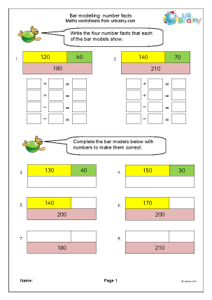 Preview of worksheet Bar modelling: number facts