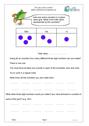 Preview of worksheet Place value: reasoning