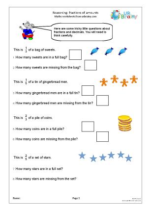 Preview of worksheet Fractions: reasoning