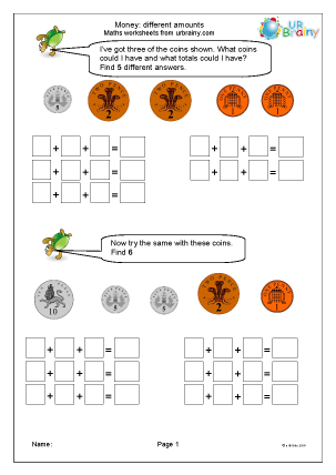 Preview of worksheet Money: different amounts