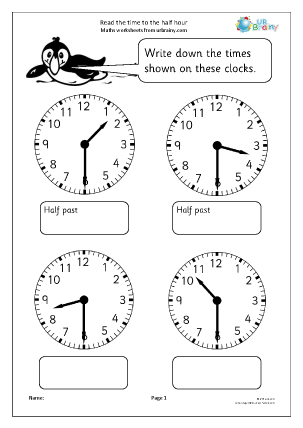 Preview of worksheet Read the time to the half hour