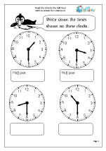 Time worksheets for Year 1 (age 5-6)