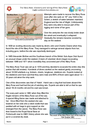 Preview of worksheet Mary Rose: discovery and raising