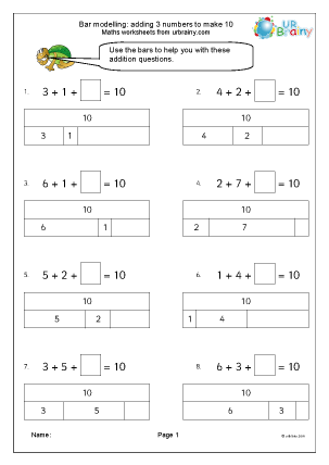 Preview of worksheet Bar modelling: add 3 numbers to make 10