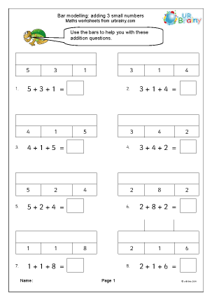 Preview of worksheet Bar modelling: add 3 small numbers