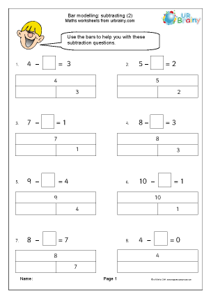 Preview of worksheet Bar modelling subtracting (2)