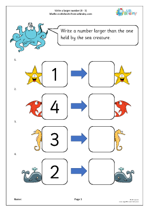 Preview of worksheet Write a larger number (sea)