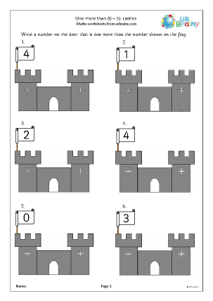 Preview of worksheet One more than: castles