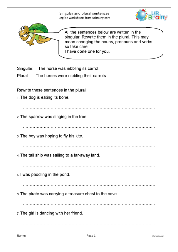 Singular And Plural Sentences - Sentences And Punctuation By URBrainy.com