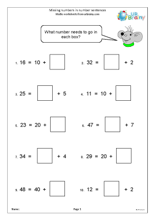Preview of worksheet Missing numbers in number sentences