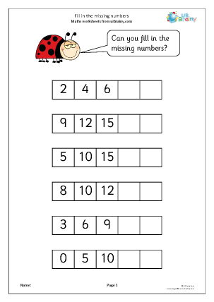 Preview of worksheet Fill in the missing numbers