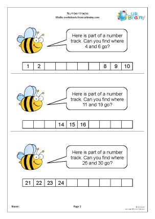 Preview of worksheet Completing number tracks