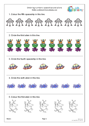 Preview of worksheet Ordering numbers: spaceships and aliens