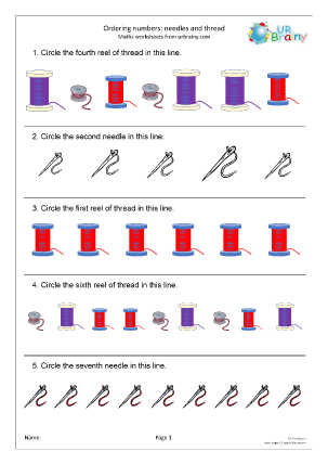 Preview of worksheet Ordering numbers: needles and thread