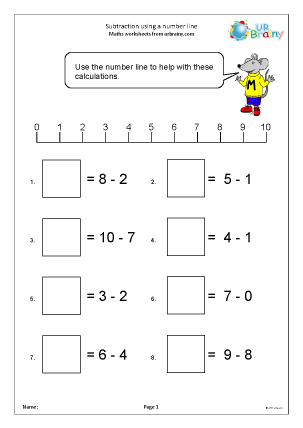 Preview of worksheet More subtraction with a number line