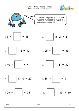 Preview of worksheet Number sentences with missing digits